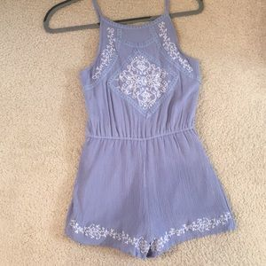 Blue Embroidered Romper